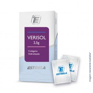 Imagem frontal da embalagem do Verisol 2.5g com dois sachês ao lado